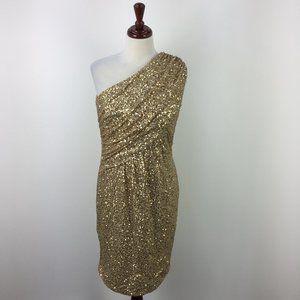 Calvin Klein Gold Glitter Off The Shoulder Dress